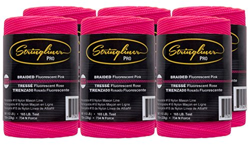 Stringliner Braided Mason Line Replacement Roll Contractor Pack 500' - Pink (Pack of 6) - SL35462CPK
