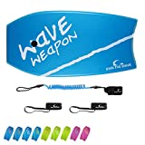 Own the Wave 41 Inch Body Board for Adults and Kids - HDPE Slick Bottom & EPS Core - Light Weight Bodyboard Perfect for Surfing - Comes with Coiled Leash and Swim Fin Tethers (Blue & White)