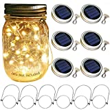 fairy jar lights - Solar Mason Jar Lid Lights, 6 Pack 30 Led String Fairy Star Firefly Jar Lids Lights,6 Hangers Included(Jars Not Included), Best for Mason Jar Decor,Patio Garden Decor Solar Laterns Table Lights