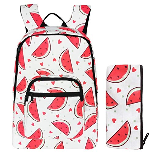Backpack for School Bookbags for Girls with Pencil Case College Daypack Watermelon Red Canvas