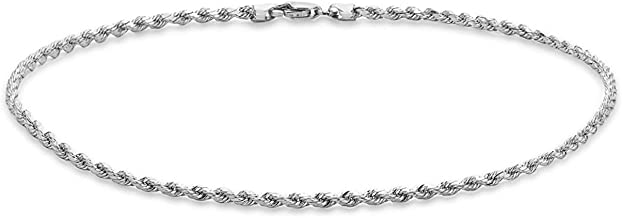 Dubai Collections 14k Fine White Gold Rope Chain Anklets for Women Men Teens and Kids Strong Durable Foot Jewelry Beach Party Work Cute Ankle Bracelet 9 10 and 11 inches