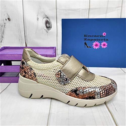 Encarni Zapatería - Deportivas Mujer Plataforma y Cuña | Bambas Comodonas | Zapato para Vaqueros y Vestidos con Estilo | Tenis Casual | Transpirables | Primavera Verano - All (Beige Velcro, 40)