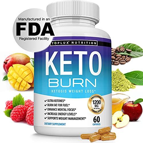 Keto Burn Pills Ketosis Weight Loss - 1200 Mg Ultra Advanced Natural Ketogenic Fat Burner Using Ketone Diet Boost Energy Focus & Metabolism Appetite Suppressant Men Women 60 Capsules Toplux Supplement