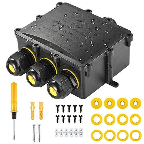 Abzweigodse IP68 Verteilerdose Wasserdichte Kabelverbinder, Kohree Klemmdose für Außen Größere 4 Wege Verbindungsdose für Ø4mm-14mm Kabeldurchmesser M25 Kabelverschraubung, PC + PVC