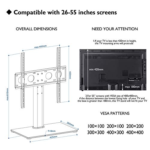 """1home Universal Table Top Pedestal TV Stand with Bracket for 32""""-50"""" LCD/LED TVs"""