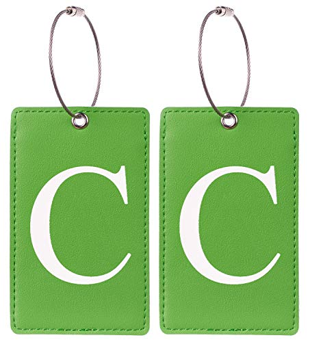 2 Pack Initial Luggage Tag Green by Gostwo Fully Bendable Tags Stainless Steel Loop (C)