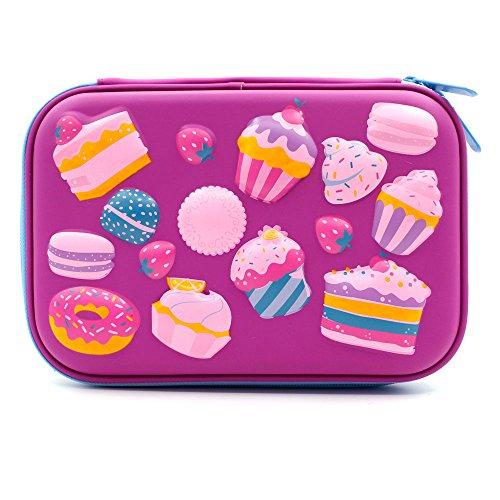Estuche para tartas con diseño de postres en relieve, tamaño grande, con compartimentos para bolígrafos, para niñas, bolsa de cosméticos, organizador de papelería, color morado