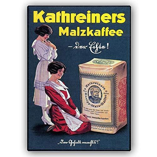 Legendarte Werbeposter Kathreiners Malz-Kaffee, Metalldruck cm. 30x40