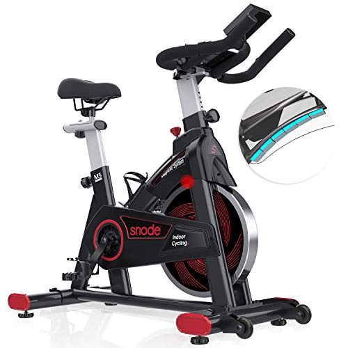 SNODEMagnetic Indoor Cyclingbike-ExerciseBikeWithTabletHolder,Upgraded LCDMonitorwith Weight, Height input Function, Stationary Bike forHome FitnessCardioWorkout
