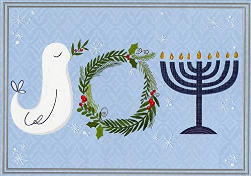 Designer Greetings Joy, Dove, Wreath and Menorah Interfaith Christmas/Hanukkah Holiday Card