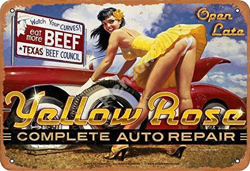 No/Brand Yellow Rose Complete Auto Repair Targa in Metallo Retro in Metallo Verniciato Art Poster Decorazione Avvertimento Targa Bar Garage Giardino Cortile Regalo