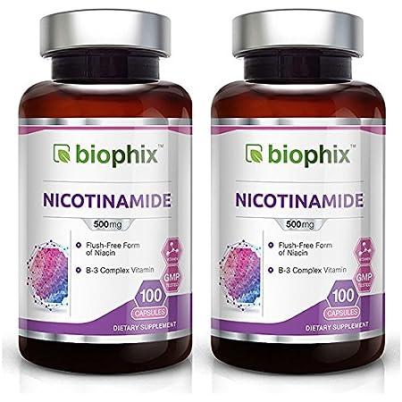 B-3 Nicotinamide 500 mg 100 Caps 2 Pack - Nicotinic Amide Niacin Natural Flush-Free Vitamin Formula - Supports Skin Cell Health