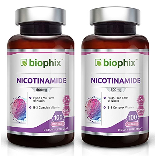 B3 Nicotinamide 500 mg 100 Caps 2 Pack - Natural Flush-Free Vitamin Formula | Gluten-Free Nicotinic Amide Niacin | Supports Skin Health | Healthy Cell Repair Support