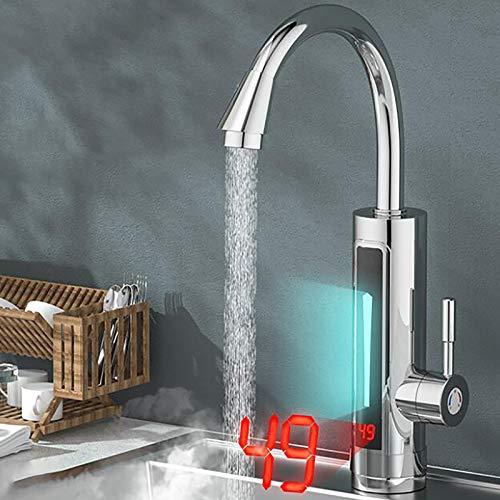 360 ° LED elektrischer Wasserhahn mit sofortigem Warmwasserbereiter sofortiger warmer Küchenarmatur Waschbecken Küchenarmatur Badmischer Wasserhahn Waschbecken Waschtisch Badarmatur 3300 W