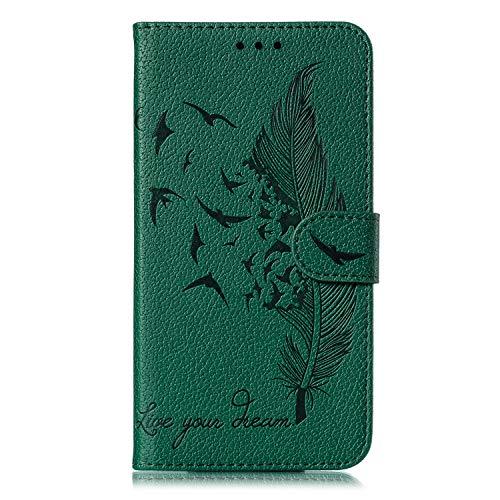 Docrax Galaxy S10 Handyhülle, Hülle Leder Case mit Standfunktion Magnetverschluss Flipcase Klapphülle kompatibel mit Samsung Galaxy S10/G973F - DOEBE010288 Grün