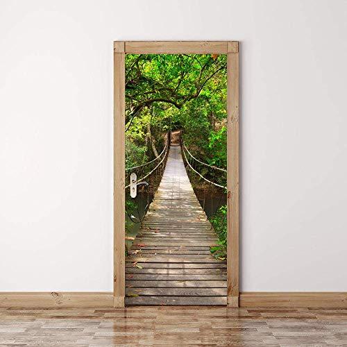 Efecto 3D Puente Levadizo Pegatinas Para La Renovación De La Puerta Arte Mural Etiqueta De La Pared Vinilo Impermeable Calcomanías Sala De Estar Cartel De La Pared