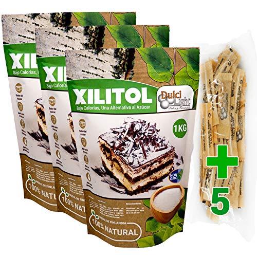 DULCILIGHT Xilitol Edulcorante 100% Natural 3 Kg Origen Abedul de Finlandia + (5 sobres de prueba Nuevo DULCILIGHT Edulcorante Moreno) Sustituto del Azúcar en cocina y Repostería