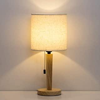 HAITRAL Table Lamp - Modern Nightstand Lamp, Wooden Desk Lamp with Pull Chain Switch & Fabric Shade for Bedroom, Office, College Dorm(HT-TH89-29)