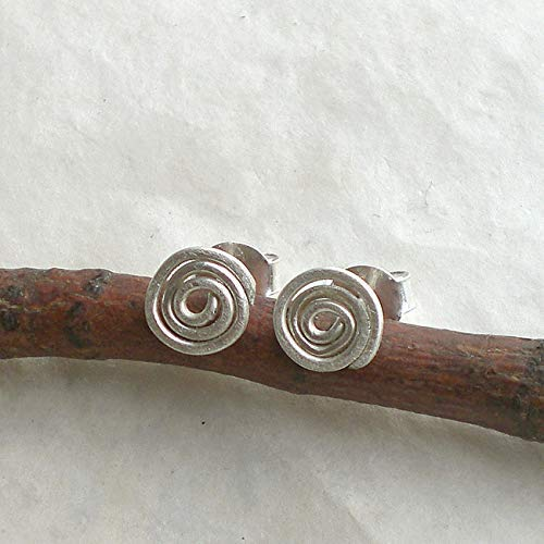 Feine Spiralen-Ohrstecker 925 Silber, Ohrringe Spirale gebürstetes Sterlingsilber