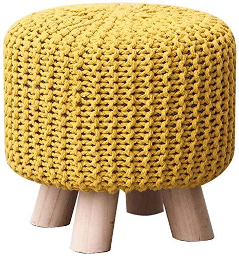 Woonkamer stoel Huishouden 100% katoen ronde Handmade Double gebreide katoen ronde handgemaakte gebreide voetenbankje Gevlochten Cushion Poef (Kleur: geel)