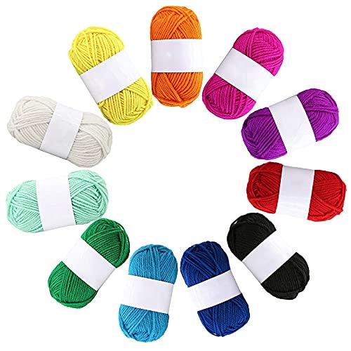 12 Pack Double Knitting Yarn Acrylic Wool Crochet Yarn for Small Yarn Projects Handcrafts 10g