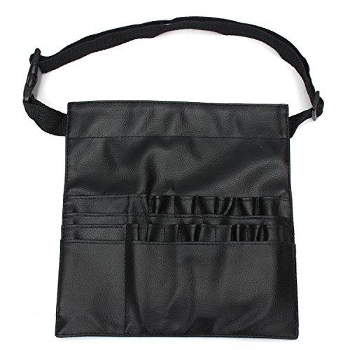 Trousse à pinceaux de maquillage professionnelle en cuir synthétique avec 22 poches et sangle de ceinture (pinceaux non inclus)