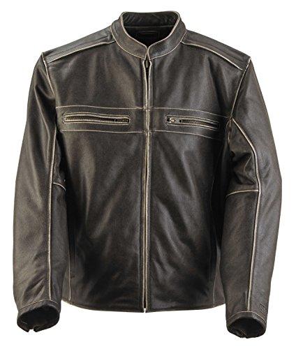 Black Brand Men's Leather Two Lane Motorcycle Jacket (Black, Medium)
