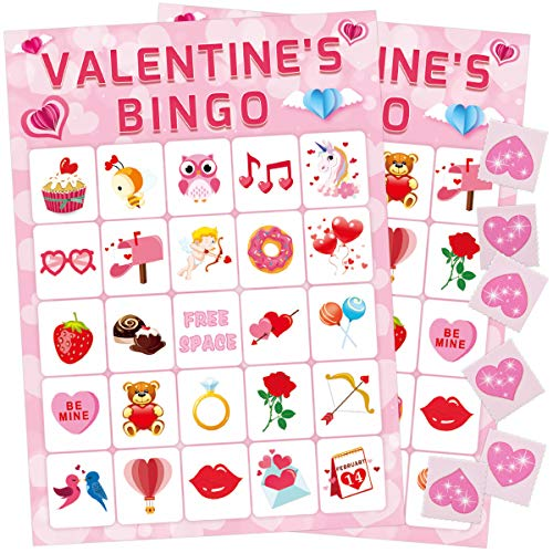 Valentine's Day Bingo Game for Kids 24 Players Valentine Party Game