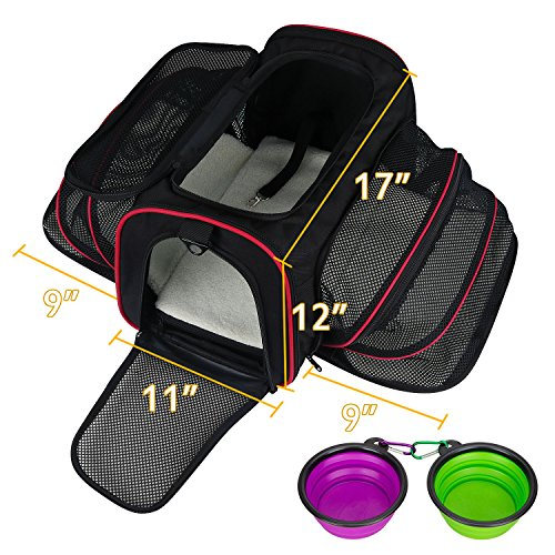 LOGROTATE Pet Carrier Airline Approved Portable Airplane Cat Carrier Dog Carrier Soft Double Sided Expandable Travel Carriers Bag Purse for Dogs Cats Kittens Puppies & Small and Medium Animals