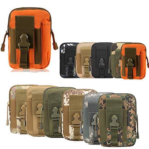 ZhaoCo Taktische Hüfttaschen, Nylon Militär Kompakt MOLLE EDC Handytasche Gürteltasche Beutel für Gadget-Dienstprogramm Camping Wandern Reise - Orange