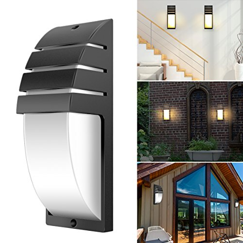 ACELEY Aplique de pared LED, apliques modernos para interiores y exteriores Lámpara de pared LED COB de 8 W a prueba de agua para pasillo, sala de estar, dormitorio, jardín (luz fría negra)