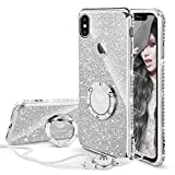 Cute iPhone Xs Max Case, Glitter Luxury Bling Diamond Rhinestone Bumper with Ring Grip Kickstand Protective Thin Girly Pink iPhone Xs Max Case for Women Girl - Silver