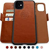 Dreem Fibonacci 2-in-1 Wallet-Case for iPhone 8-Plus & 7-Plus, Magnetic Detachable Shock-Proof TPU Slim-Case, RFID Protection, 2-Way Stand, Luxury Vegan Leather - Caramel