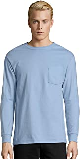 Hanes Men's Tagless Long Sleeve T-Shirt with a Pocket - Medium - Light Blue