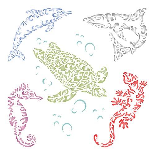 Sea Creatures Schablone, 35,56 x 35,56 cm (L) – stilisierte Tribal Tattoo Fisch Eidechse Gekko Delfin Hai Seepferdchen Schildkröte Schablonen