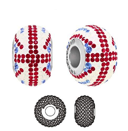 **Beforya Paris** - Charms Bead - Fahne England UK - die Flagge - Silber 925 Schön Damen Mädchen Charms Beads mit Kristallen von Swarovski mit Geschenkbox PIN/75
