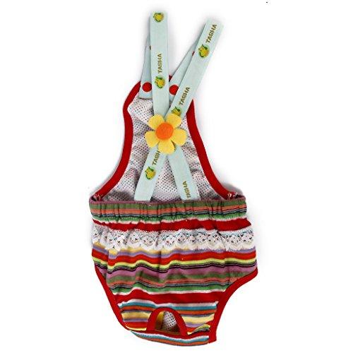 Culotte Sanitaire à Bretelles à Rayures Colorées pour Chienne Animal Femelle 4-6Kg L