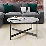Nathan James Piper Faux White Marble Round Modern Living Accent Side or Coffee, Sofa Center Table for Dining Room/Tea with Metal Frame, Black