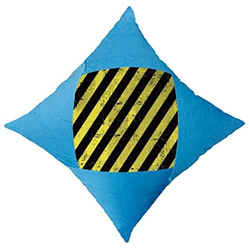 OFFbb-USA - Funda de cojín con logo de rayas negras y amarillas, color azul