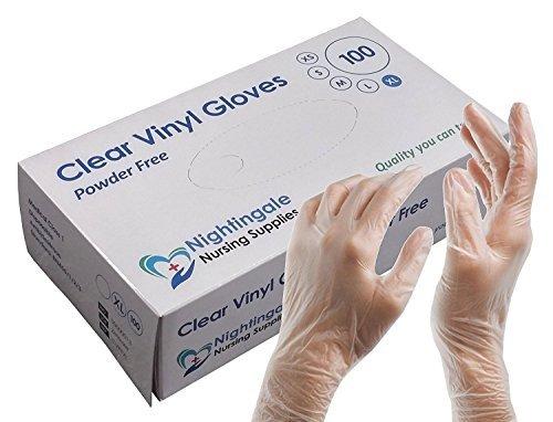 Nightingale Nursing Supplies Guanti Monouso - Trasparente Vinile (100 or 1000) - Trasparente, Large (100)
