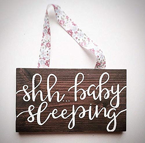 PotteLove Rustic Wooden Plaque Wall Art Hanging Sign Custom Wood Nursery Sign - Shh Baby Sleeping Sign - Handlettered Sleeping Baby Sign - Custom Wood Nursery Sign - Kids Room Signs 12\