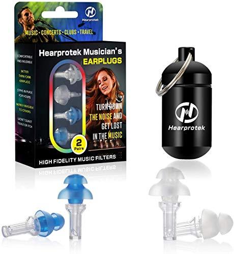 Hearprotek Tapones para los oídos para conciertos de alta fidelidad, 2 Pares tapones protección auditiva-23db para músicos, festival, DJ, Músicos & discotecas (Azul)