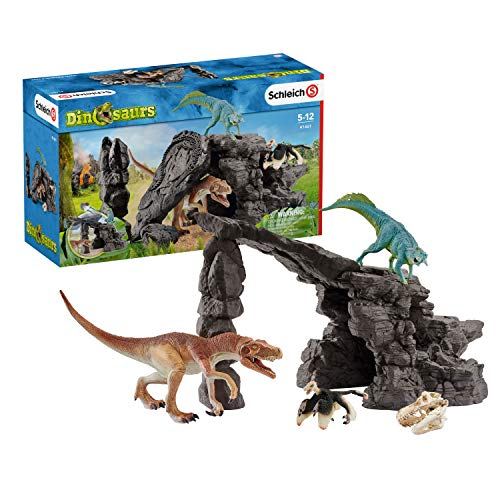 Schleich Dinosaurs, Dinosaur Toys, 7-Piece Playset for Boys and Girls 4-12 years old, Dinosaur Set with Cave