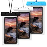 Waterproof Case, Veckle 3 Pack Travel Waterproof Phone Pouch Universal Clear Water Proof Dry Beach Bag for iPhone X 8 7 6S 6 Plus, Samsung Galaxy S9 S8 S7 S6, Note 5, Black White Blue
