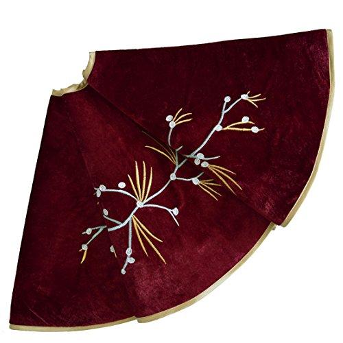 SORRENTO 50inch Burgundy Velvet Christmas tree skirt Berry Embroidery skirt Christmas Decoration