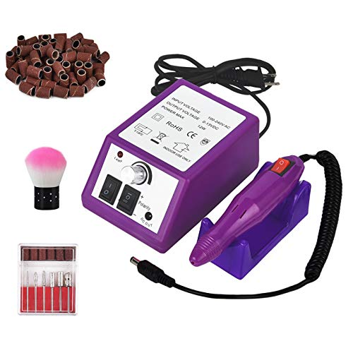 Professional Electric Nail Drill 20,000 RPM Nail Drill Machine for Shaping, Buffing, Removing Acrylic Nails with 100 Pcs of Sanding Bands and 6 Replaceable Drill Bits for Home Salon Use Purple