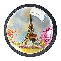 引き出しハンドルは、ホームキッチンドレッサーワードローブパリヨーロッパの都市の有名なランドマークのための丸いクリスタルガラスを引っ張る