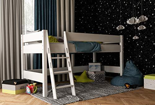 Furnneo Hochbett Weiß für Kinder 100% aus Buche, Kinderbett,Spielbett Halbhochbett...