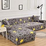 Fundas de sofá elásticas Impresas para Sala de Estar Funda de sofá de Esquina en Forma de L Chaise Longue Sillón Sofá Funda A33 2 plazas