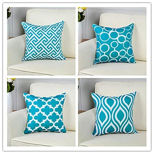 Pack de 4 Funda de Cojine 50 x 50 cm 20 x 20 Inch Azul Zafiro Cuadrado Cushion Cover Decoración Algodón Lino Lanzar Funda de Almohada Caso de la Cubierta Cojines para Sofá Decorativo X4262